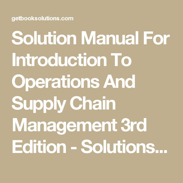 supply chain management solution manual